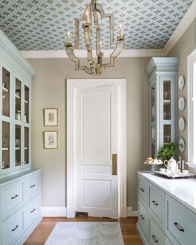 Farrow & Ball Ranelagh wallpaper. The 2016 DC Design House is now open for tours! Lido Medium Chandelier by Niermann Weeks in the China Pantry designed by Nadia Subaran and Megan Padilla of @aidandesign #aidandesign #circalighting