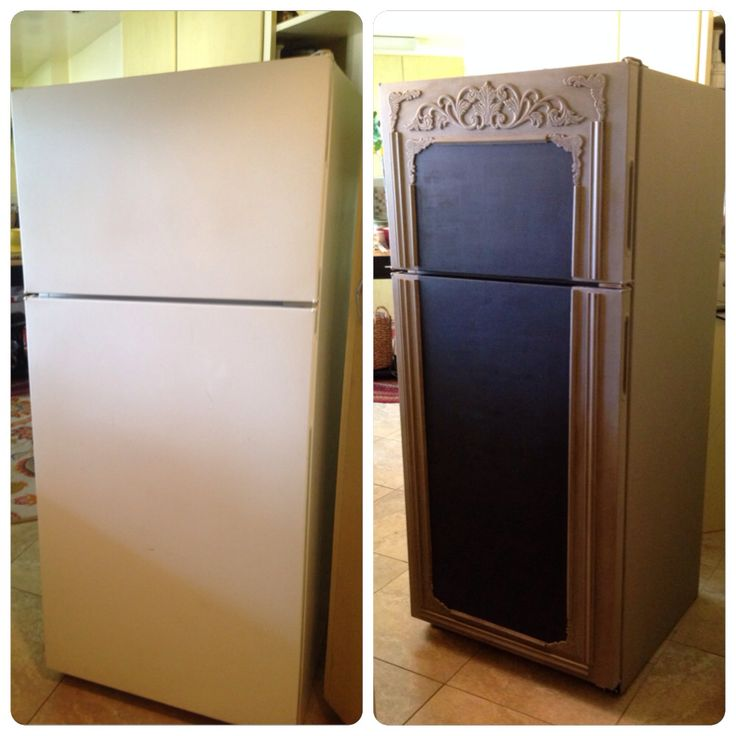 "Fridge Makeover: Annie Sloan chalk paint in ""French Linen"" and Rustoleum chalk board paint."