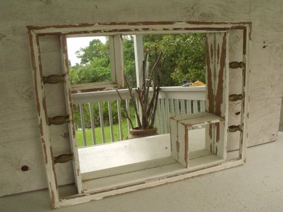 Large Framed Mirror Shadow Box Shabby White Display Wood Shelf