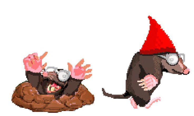 Pixel Art of the Day: Our episode 2 annoying mole. Gnomes, watch out!