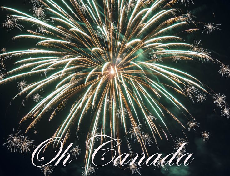 Fireworks in Newmarket, Ontario celebrating Canada's 150th Birthday, July1st, 2017.