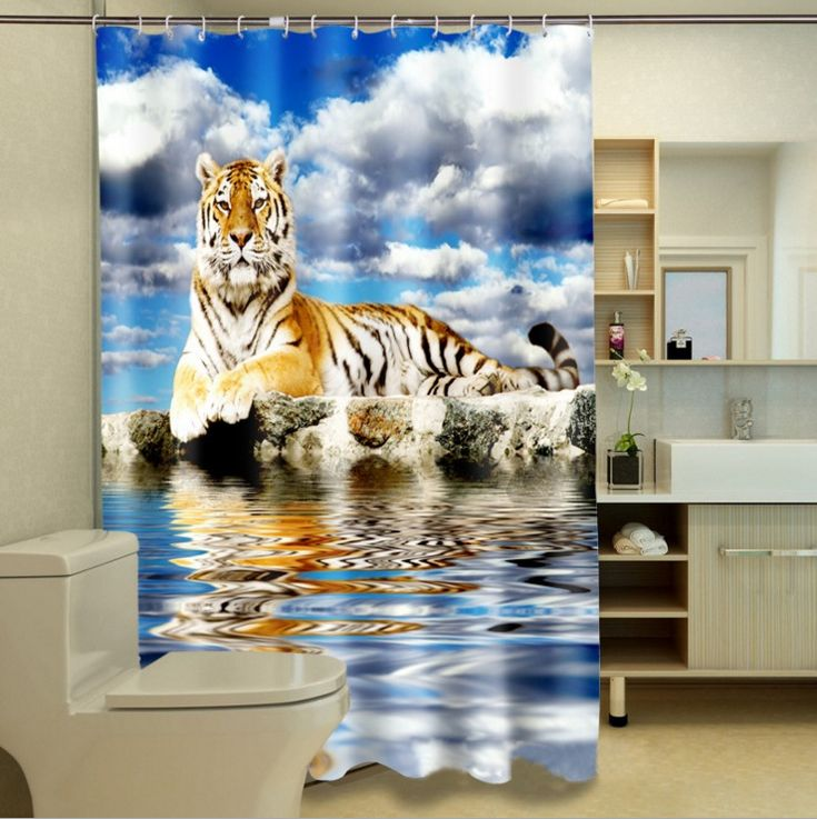 "60X72"" Polyester Waterproof Fabric Shower Curtain W/ Hook Tiger Water Blue Sky"