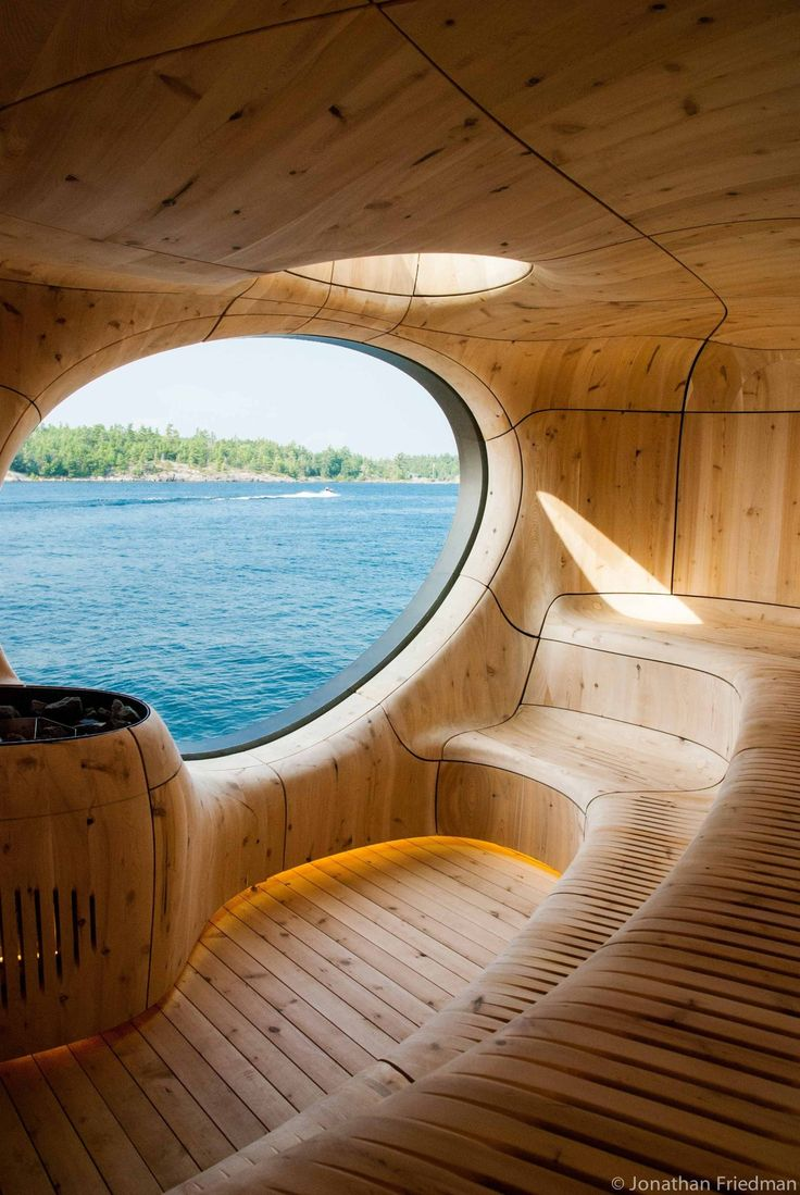 Beautiful sauna overlooking a lake [[MORE]] radient: More pics, details, and credits here: http://www.archdaily.com/574851/grotto-sauna-partisans/