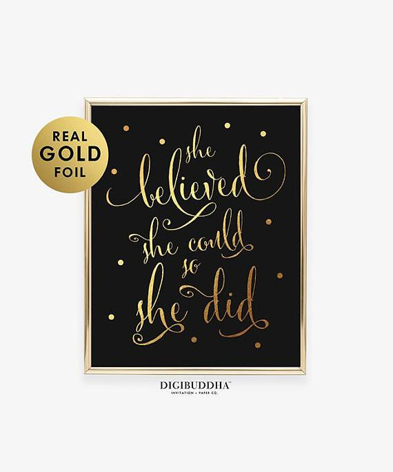 Fashion she believed she could so she did silver wall art girls bedroom print