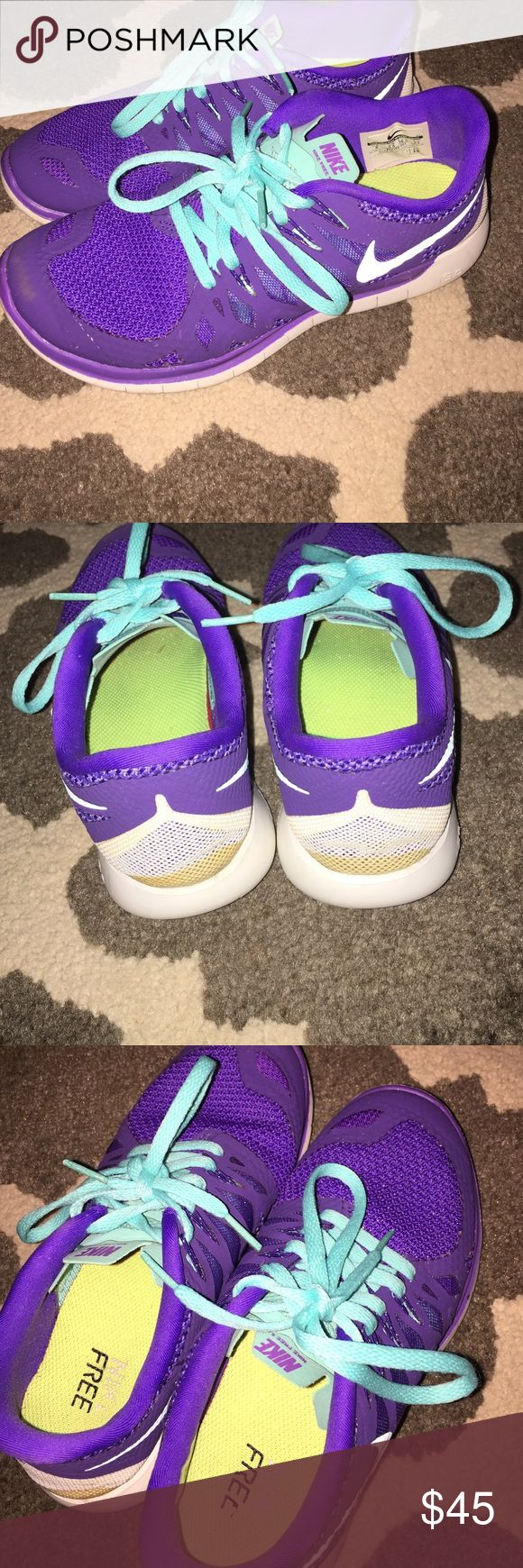 Nike Free 5.0 Purple/turquoise has a few bleached spots on side as shown in picture! Nothing too serious or noticeable! Very cute & comfortable! ‼️price is firm‼️ Nike Shoes Athletic Shoes