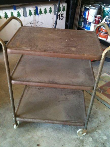 Refinishing metal cart
