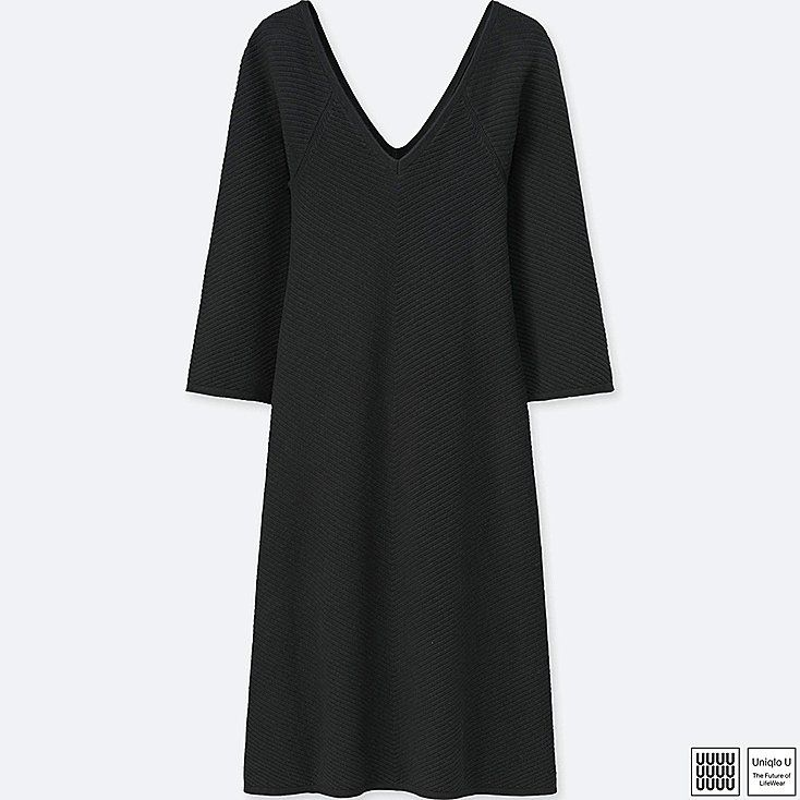 WOMEN U COTTON CASHMERE V-NECK LONG-SLEEVE DRESS, BLACK, large