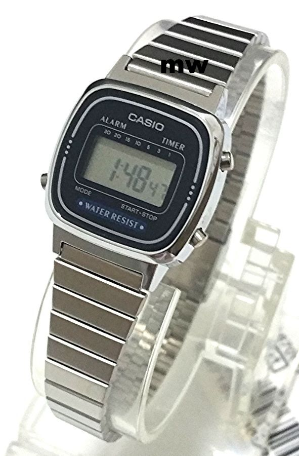Casio La-670Wa-2D Ladies Silver Digital Retro Vintage Womens Watch La670 La670Wa