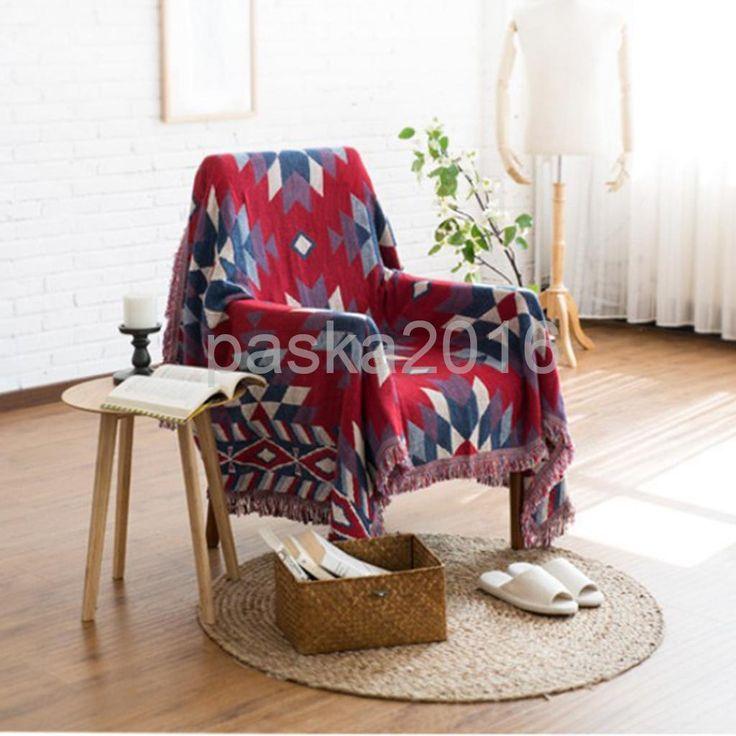 Cotton Sofa Bed Settee Throw Cover,130X180Cm Jacquard Bedspread Rug- Diamond