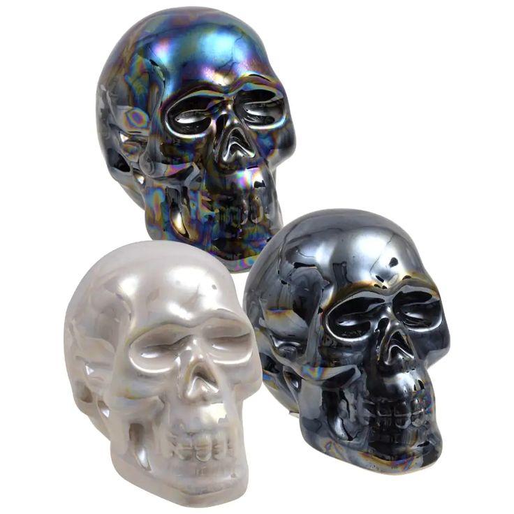 Pearlized Ceramic Halloween Skulls