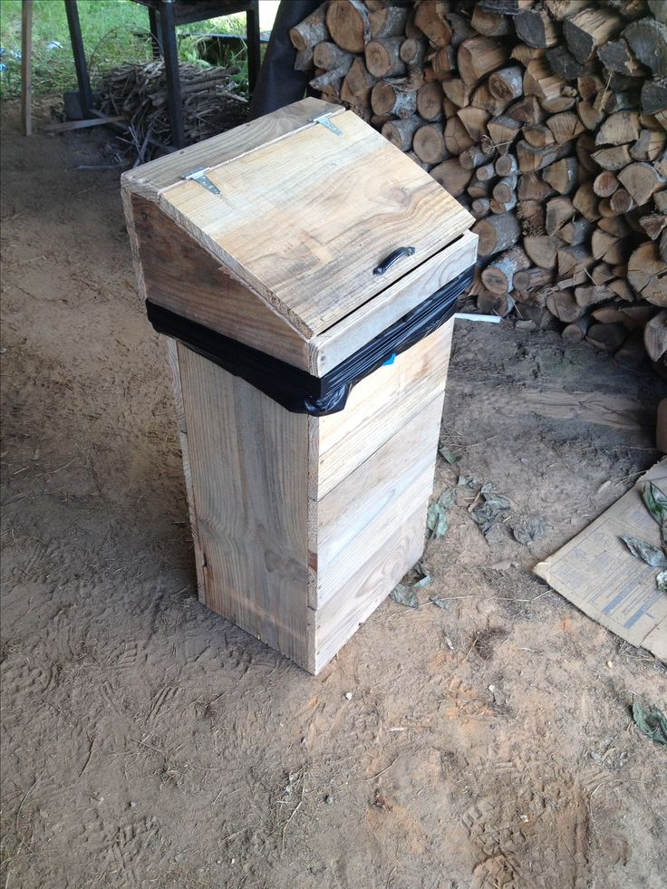 Wooden Garbage Can Made From Rough Cut Pine Has Removable