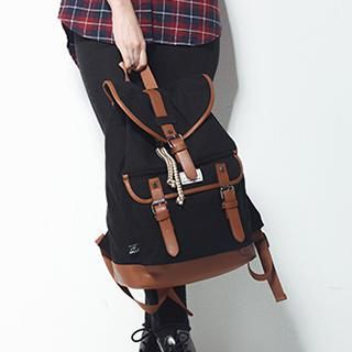 Faux-Leather Paneled Buckled Canvas Backpack from #YesStyle <3 Mr.ace Homme YesStyle.com