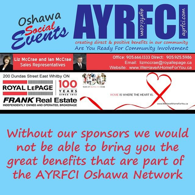 We are one of AYRFCI sponsors.  Have you checked out the great benefits AYRFCI has for Oshawa? http://areyoureadyforci.com/page/ayrfci-oshawa-network #AYRFCIOshawa #AYRFCI #Oshawa #LizMcCrae