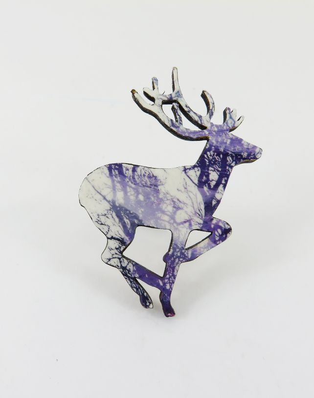 Running Deer Brooch with Purple Tree Branch Decoration £12.00