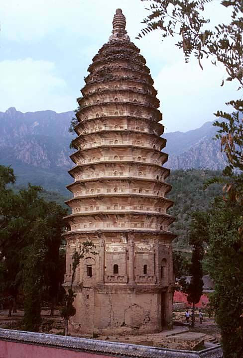 The Songyue Pagoda, built in 523 AD, located in Henan Province, China. It's one of the few intact sixth-century pagodas in China. It's also the earliest known Chinese brick pagoda.