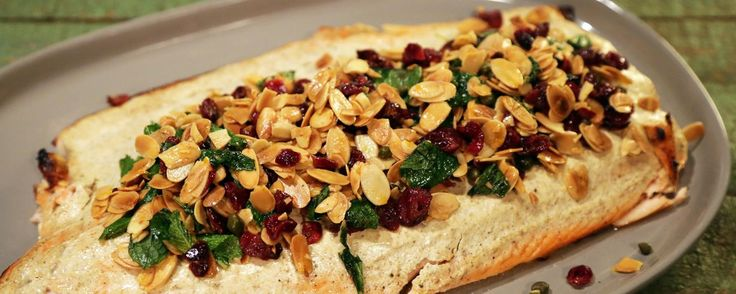 Baked Salmon with Cranberry Almond Salad.  See Clinton's leftover recipe.