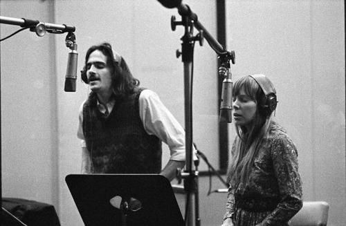 Joni Mitchell and James Taylor recording backgrounds for Carole King's Tapestry LP -- Studio B at A&M Records 1971