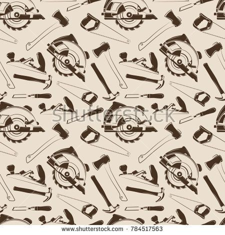 Stock Photo: Carpentry tools seamless pattern design. Background wallpaper with instruments. illustration -