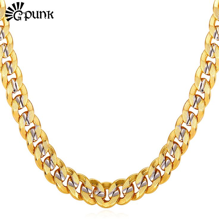 Men Curb Cuban Link Chain Gold Plated 9MM HipHop Style High Quality Chain Necklace For Men Male Gift  N1949G