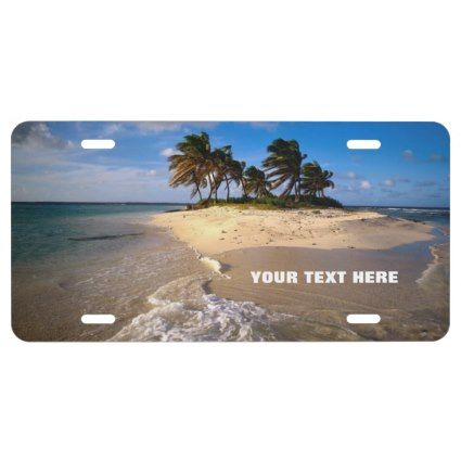 Amazing Small Solitary Island Custom Customizable License Plate: Order right now, and let this item leave the Zazzle facilities IMMEDIATELY, within the next few hours directly to your destination (to your front door!).  #island #personalize #beach #licenseplate