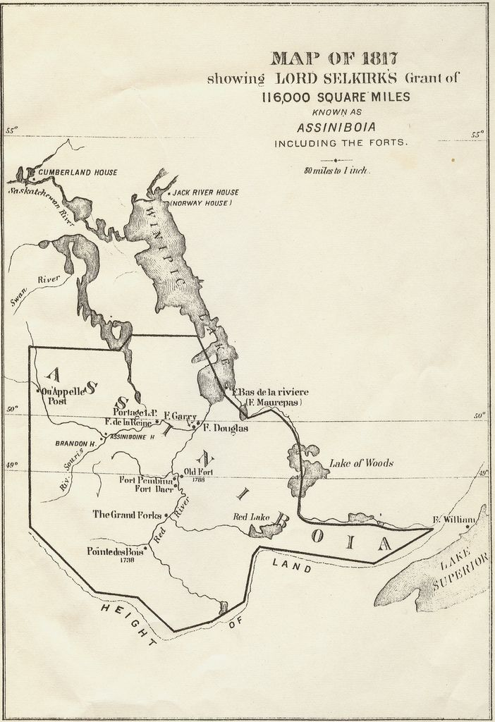 Map illustrating Lord Selkirk's grant of 116,000 Square Miles,  known as Assiniboia. 1817 (Map dated 1881)