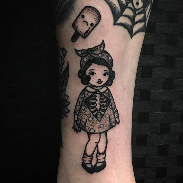Blackwork little girl tattoo by Sarah Whitehouse. SarahWhitehouse Manchester UK blackwork littlegirl kid girl cute adorable skeleton dotwork