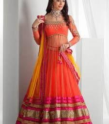 Buy Orange net embroidered semi stitiched salwar with dupatta party-wear-salwar-kameez online