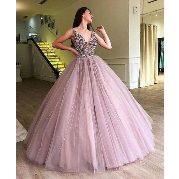Tulle Rhinestone Prom Dresses, Beaded Prom Dresses, Ball Gown, Cheap Prom Dresses, Prom Dresses