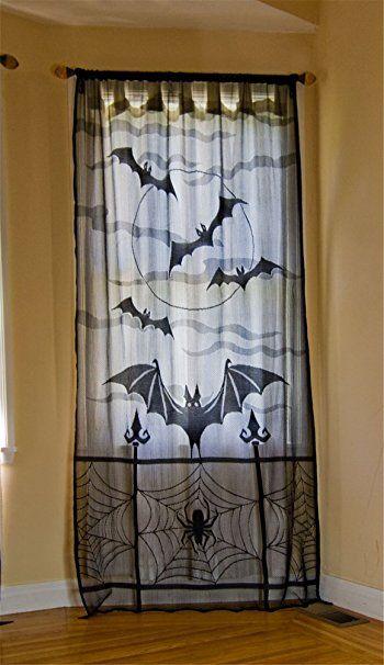 ODN Halloween Spinnennetz Vorhänge Deko Türvorhang Tür Tisch Fenster Dekoration halbtransparente