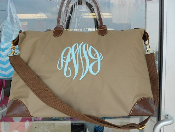 Large Weekender Tote Bag Monogram Font Shown MASTER CIRCLE. Perfect for carry on bag after the wedding!