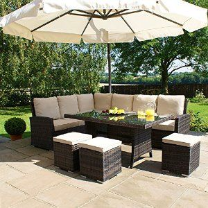 maze rattan outdoor garden furniture kingston 150cm x 100cm rectangular table brown rattan corner sofa dining