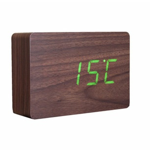 Brick Click Clock Walnut Green