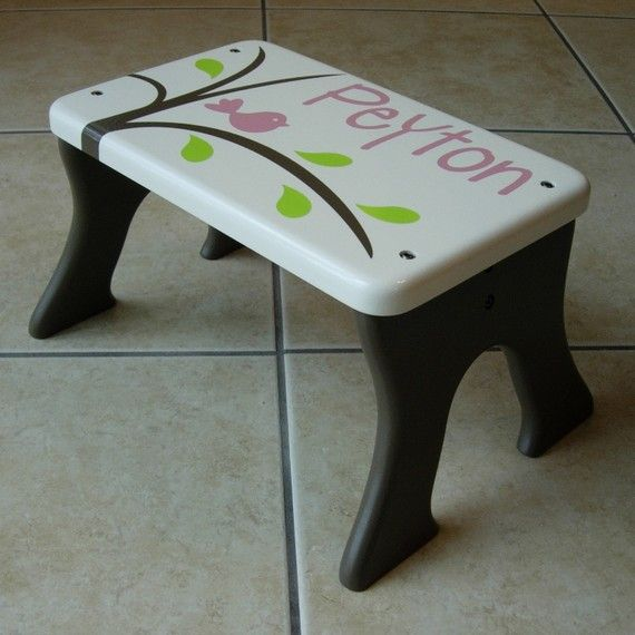 Bird Step Stool Brown Pink Green White Tree Wood by LaffyDaffy