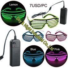 Десять цветов вариант El очки El провода мода неон из светодиодов загораются затворные очки в форме костюм в стиле рейв ну вечеринку