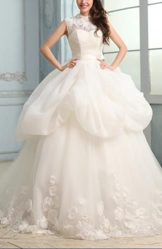 Tulle Strapless Elegant Bridal Gowns - Order Link: http://www.theweddingdresses.com/tulle-strapless-elegant-bridal-gowns-twdn5712.html - Embellishments: Ribbon , Beaded , Appliques , Tiered , Flower , Sash; Length: Chapel Train; Fabric: Tulle; Waist: Natural - Price: 336.79USD