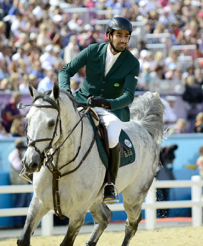 HRH Prince Abdullah Al-Saud of Saudi Arabia, riding Davos, competes in the Equestrian of the Team Jumping competition at the London 2012 Summer Olympics. The Saudi team finished third to capture the Bronze Medal.