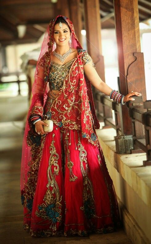 beautiful hot pink and blue lehenga for the modern brides