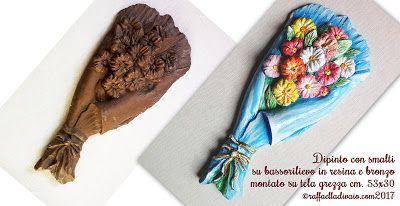 raffaelladivaio*illustrazione e creatività: QUEL MAZZOLIN DI FIORI  Primo mercoledì di primavera, qui in Val Padana, nebbioso e umido. Ma ho da poco terminato questo MAZZOLIN DI FIORI, pieno di colori. Dipinto con smalti su bassorilievo in resina e bronzo montato su tela grezza cm. 53x30 ©raffaelladivaio.com2017