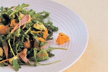 Orange, avocado and bacon salad
