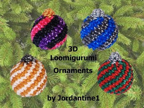 New 3D Loomigurumi / Amigurumi Christmas Ball Spiral Ornament - Hook Only - Rubber Band Crochet - YouTube