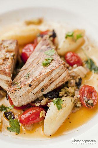 Tonno alla griglia (grilled Tuna, vegetable caponata Sicilian style)