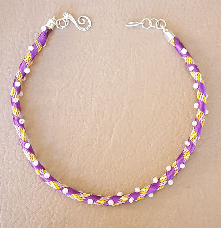 Purple, Yellow and Orange Kumihimo Necklace with Purple Ribbon and White Beads by KalaaStudio on Etsy