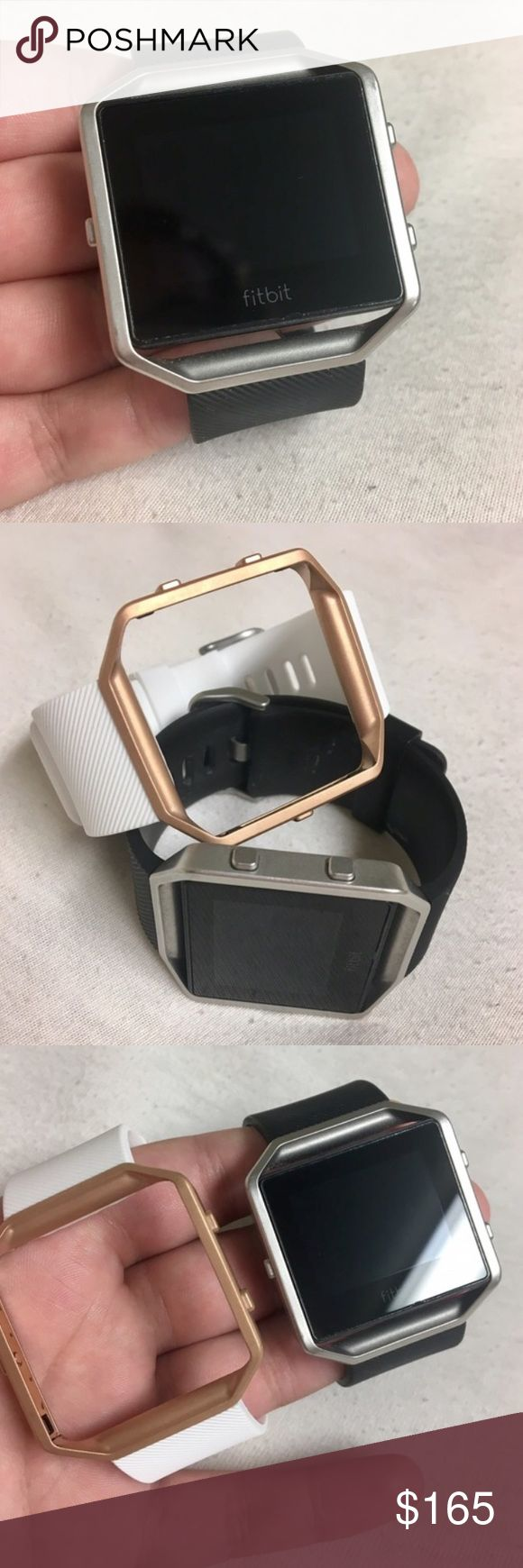 FITBIT BLAZE: barely worn with accessories! Basically brand new FitBit Blaze. Tracks steps, sleeping patterns, stairs climbed, calories burned, water intake, active minutes and more! Size SMALL. Comes with interchangeable white/black bands and silver/rose gold frames. Has a screen protector as well. I'm only selling because I don't use it much anymore. (Original price includes retail price of Fitbit + bands that were bought later on.) SHIPS WITHIN 2 DAYS. FitBit Accessories Watches