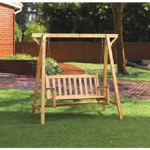 Outdoor Wooden Garden Swing Porch Furniture Swinging Patio Bench Wood Glider