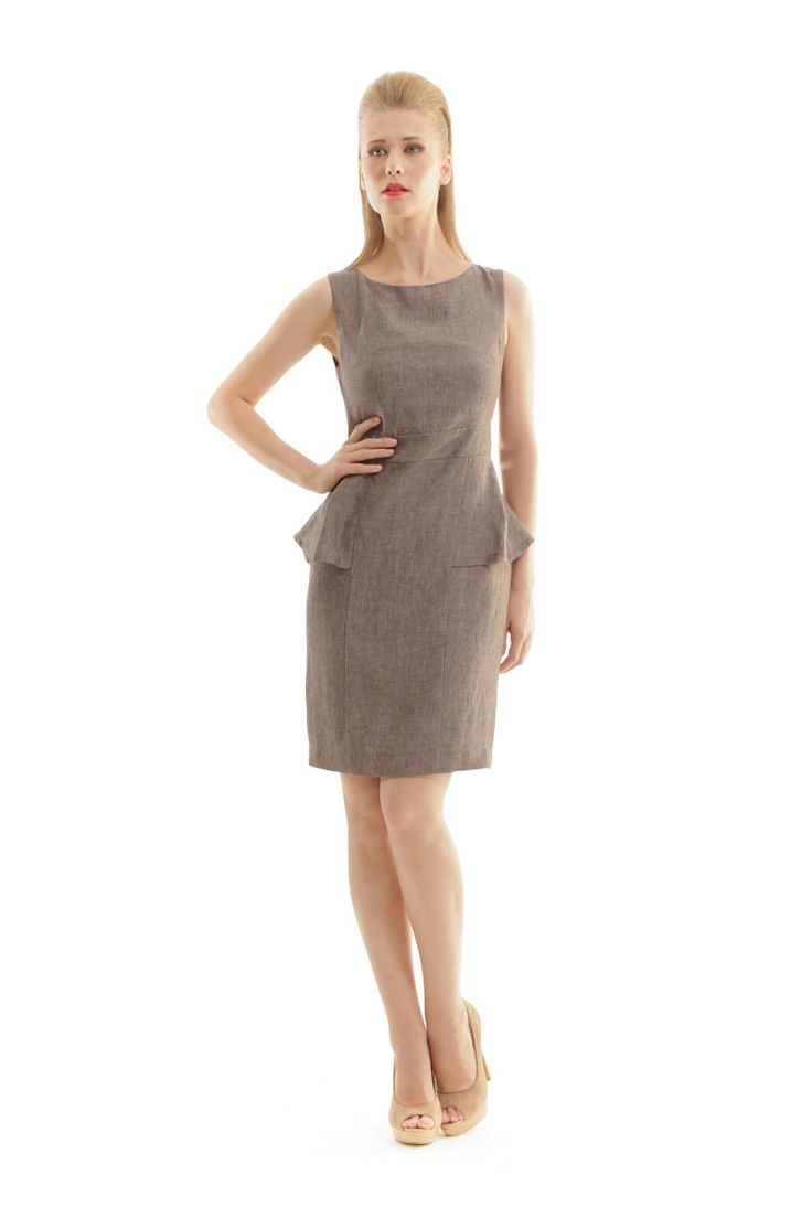 A linen dress, can never do wrong! Find your confortable linen dress in the flattering Peplum design in the link below. #linen #peplum #dress #design