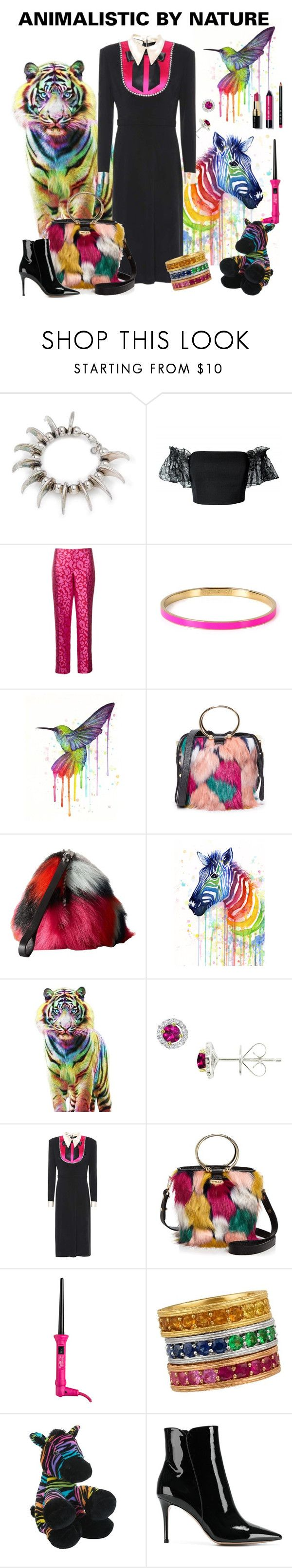 """""""Animalistic By Nature"""" by nicole-leblanc-1 ❤ liked on Polyvore featuring Tom Binns, Plakinger, Oscar de la Renta, Kate Spade, Samsung, Milly, McQ by Alexander McQueen, EWA, Gucci and Royale"""