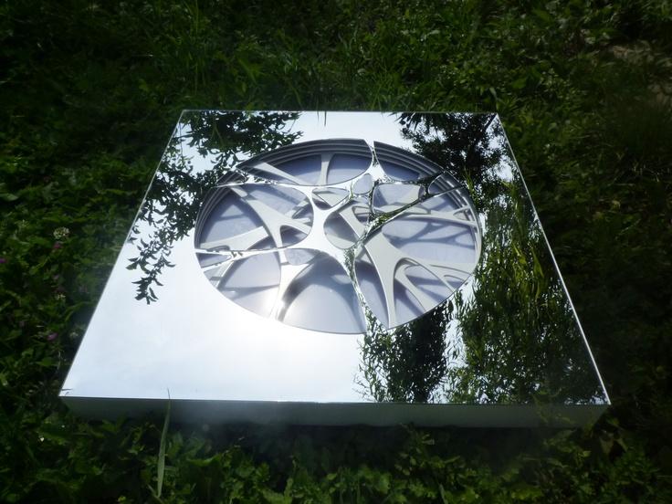 LIGHTING BOX: LAMBAME 005 with Mirror finish & LED Lighting H:60cm L:60cm W:5cm