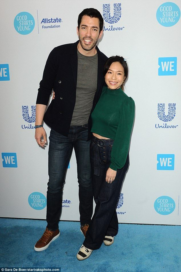 Showing Support Property Brothers Star Drew Scott Arrived With Wife Linda Phan As His Date Drew Scott Celebrity Babies Jonathan Scott