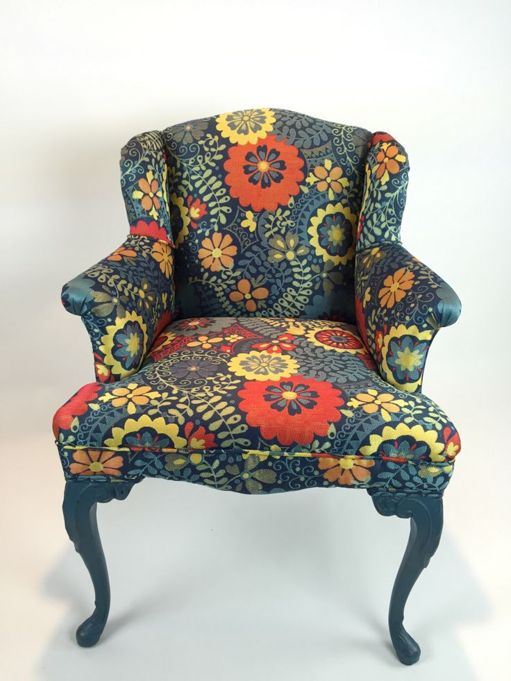 Whoa, Someone Used The Same Fabric I Did! I Love This Fabric. Wish ·  Vintage ArmchairVintage FurnitureWingback ...