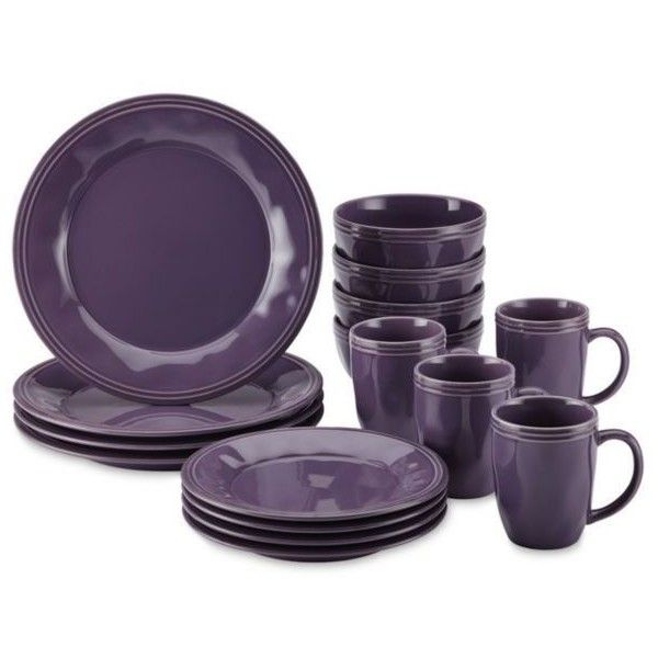 Rachael Ray  Cucina 16-Piece Lavender Dinnerware Set ($140) ❤ liked on Polyvore featuring home, kitchen & dining, dinnerware, lavender, rachael ray, stoneware salad plate, rachael ray dinnerware, rachael ray dinnerware sets and rachael ray salad plates